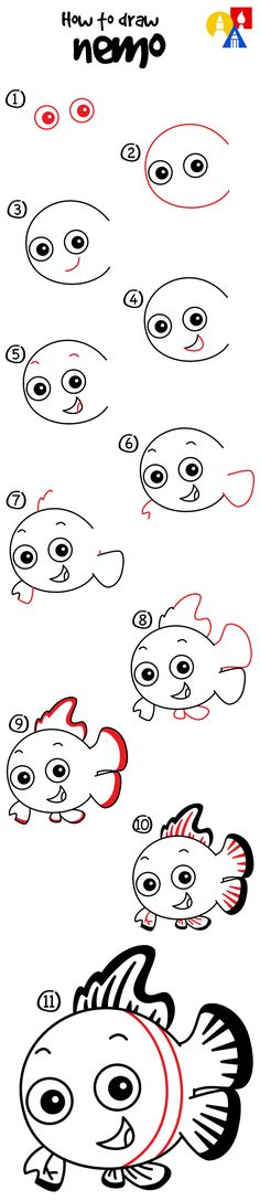 How to draw Nemo from Finding Nemo!