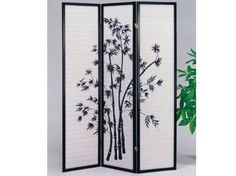 Yuta Black Wood 3-Panel Wooden ScreenACM-02287
