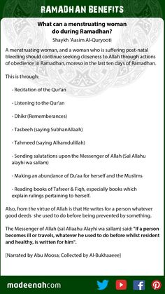 What can a menstruating woman do during Ramadhan?