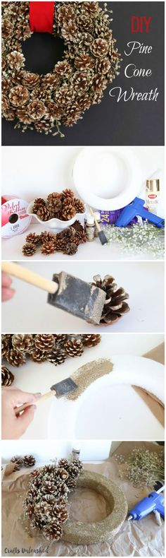 Perfect for Christmas and fitting for the whole winter season, check out this pine cone wreath DIY tutorial for a dazzling decor piece this holiday season. Pine Cone Art, Pine Cone Crafts, Christmas Projects, Pine Cones, Holiday Crafts, Christmas Wreaths, Christmas Decorations, Holiday Decorating, Diy Christmas