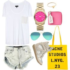 Outfit by serratas #acne @OneTeaspoon #isabelmarant #acne #michaelkors watch #pink