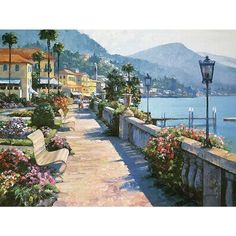 Howard Behrens 'Bellagio Promenade' Canvas Art - Overstock Shopping - Top Rated Barewalls Interactive Art Canvas