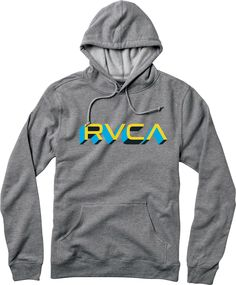 The RVCA Third Dimension is a hooded pullover fleece with a front screen print. The sweatshirt has rib at the cuffs and bottom waist.