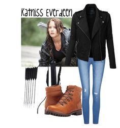 """""""Katniss Everdeen"""" by slay-miserables ❤ liked on Polyvore featuring art, katnisseverdeen, Hungergames and katniss"""