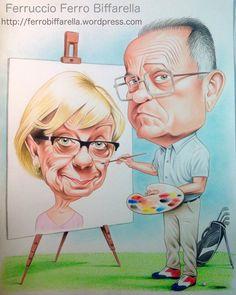 Anselmo e Luciana  #Golf club Santo Stefano #Campagnola Emilia#Golf #Caricatura regalo #Anselmo Asioli #Caricatura Golf