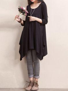 O-NEWE L-5XL Casual Women Solid Color Hem Asymmetric Dress