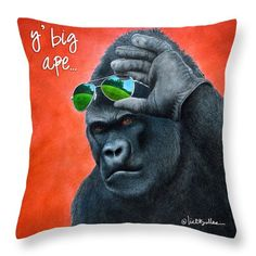 """Y' Big Ape... Throw Pillow by Will Bullas.  Our throw pillows are made from 100% spun polyester poplin fabric and add a stylish statement to any room.  Pillows are available in sizes from 14"""" x 14"""" up to 26"""" x 26"""".  Each pillow is printed on both sides (same image) and includes a concealed zipper and removable insert (if selected) for easy cleaning."""
