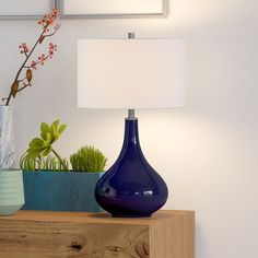 Blue Table Lamp, Table Lamp Base, Table Lamp Sets, Lamp Bases, Living Room End Tables, Lamp Shade Store, Light Bulb Types, Fabric Shades, Drum Shade