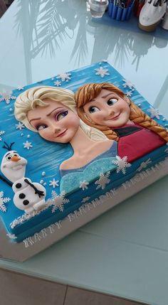 WonderCake (the new page) Frozen Birthday Party, Elsa Birthday Cake, 4th Birthday Parties, Disney Frozen Cake, Frozen Theme Cake, Disney Cakes, Torte Frozen, Bolo Elsa, Elsa Cakes