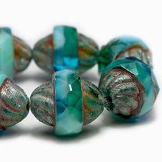 30 Tiny Aqua Blue Beads 5x3mm Rondelle Aquamarine Picasso Transparent T-90H
