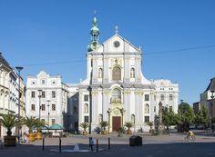 """""""Lower Square"""" (Dolní náměstí) with the church of St.Vojtěch in Opava (Silesia), Czechia"""
