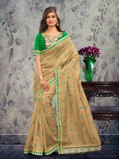 Cream Bhagalpuri Silk Saree With Zari Work www.saree.com
