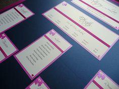 Navy blue, Fuchsia Pink butterfly & Heart themed Wedding Table Plan Board