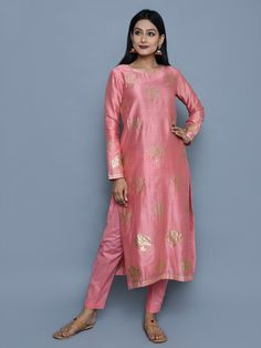 Peach Chanderi Block Printed Kurta with Cotton Palazzo - Set of 2 Ethnic Outfits, Indian Outfits, Fashion Outfits, Ethnic Suit, Indian Ethnic Wear, Salwar Designs, Blouse Designs, India Fashion, Ethnic Fashion