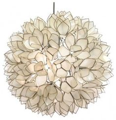 Lotus Flower Chandelier I love this lamp, and this appears to be the most affordable option out there. It fits in anywhere, I think. But, with its capiz shell material it is perfect for bringing some sea life inside. Flower Chandelier, Chandelier Lighting, Home Lighting, Shell Chandelier, Flower Pendant, Flower Lamp, Unique Chandelier, Shell Pendant, Lighting Ideas