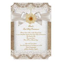 Shop Rustic Burlap Cream Lace, Gerbera Flower Bow Invitation created by Zizzago. Burlap Wedding Invitations, Quinceanera Invitations, Custom Invitations, Invites, Gerbera Flower, Burlap Lace, Baby Shower, First Holy Communion, Xmas Cards
