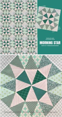 Morning star quilt block video tutorial and template
