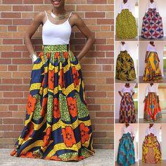 African Women's Print High Waist Party Long Maxi Skirt Dress + Waist Belt in Clothing, Shoes & Accessories, Women's Clothing, Dresses African Attire, African Wear, African Fashion Dresses, African Women, African Dress, Fashion Outfits, African Style, Fashion Skirts, Fashion Ideas