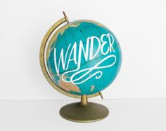 World Globe 12in Teal Painted The World Is by WildandFreeDesigns