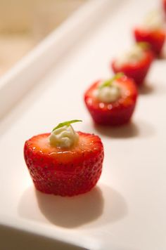 Garnished strawberries make colorful appetizers for spring and summer weddings.