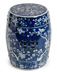 Blue and White Chinese Porcelain Handmade Garden Stool - Cherry Blossom Chinoiserie & Motif Ceramic Stool, Ceramic Garden Stools, Ceramic Table, Porcelain Ceramics, White Ceramics, Porcelain Sink, Cold Porcelain, Chandeliers, Casa Milano