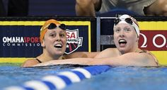 MARK J. TERRILL / ASSICIATED PRESS Lilly King, right, reacts with former University of Tennessee swimmer Molly Hannis after winning the women's 200-meter breaststroke final at the U.S. Olympic swimming trials Friday n Omaha, Neb. Hannis finished in second place and is going to the Olympics for the first time. Hannis said earlier in the week she wanted to honor Pat Summitt with her performance.