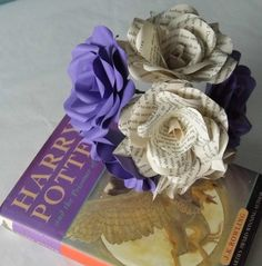 6 Harry Potter Roses, Book Paper Flower Roses, Purple Roses Mixed Bouquet x 6 Handmade Paper Flowers