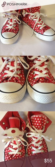 Converse rare red polka dot sneakers shoes 7 Adorable red and white polka dot converse high top sneakers.  Excellent preloved condition. Clean.  Men size 5.  Women's size 7 Converse Shoes Sneakers