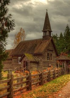 Not a barn or mill, but love the image of this old log church - St.Anne's, Parksville, Vancouver Island                                                                                                                                                      More