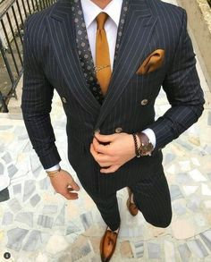 2018 Black Stripe Suits Men Double Breasted Formal 2 Piece Jacket Blazer is part of Suit fashion - 2018 Black Stripe Suits Men Double Breasted Formal 2 Piece Jacket Blazer for wedding prom casual outfit Mode Masculine, Mode Costume, Style Masculin, Designer Suits For Men, Herren Outfit, Fashion Mode, Style Fashion, Fashion Clothes, Fashion Check