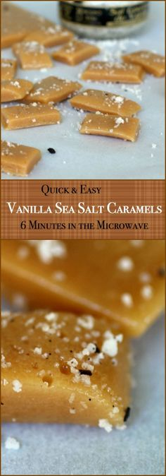 These quick and easy salted caramels are rich, buttery, and so good with just a touch of vanilla sea salt for texture and to balance out the salty crunch. Easy to make in 6 minutes start to finish -- plus you only need two dishes! RestlessChipotle.com