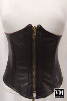 Black Vegan Leather under bust corset with zipper handmade in Vancouver, BC perfect for steampunk, cosplay, Gothic fashion and festivals. Steampunk Makeup, Steampunk Cosplay, Underbust Corset, Waist Cincher, Gothic Fashion, Vegan Leather, Festivals, Vancouver, Bones
