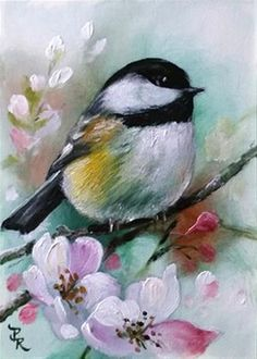 "Daily Paintworks - ""Mint Chickadee  ACEO"" - Original Fine Art for Sale - © Paulie Rollins"