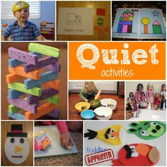 Toddler and preschool Approved!: The ABC's of Toddler and preschooll Activities {P through T}. Q is for Quiet Activities. What are your favorite quiet or calming activities with kids? Quiet Time Activities, Calming Activities, Craft Activities For Kids, Infant Activities, Learning Activities, Baby Activites, Family Activities, Toddler Play, Toddler Learning