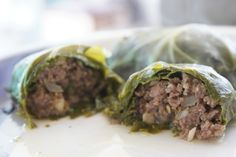 Clean - Stuffed Collard Greens: ground beef, collard greens, onion, garlic, parsley, nuts, vegetable or beef stock, seasonings