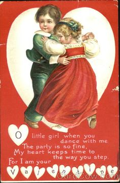❤ Vintage Greeting Card Art Poster Print! ☮~ღ~*~*✿⊱╮ レ o √ 乇 !! - Children by Ellen Clapsaddle - Valentine