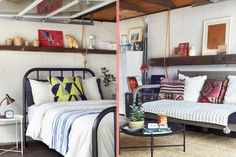 """An Author's Cozy Guest Cabin in Minneapolis, MN, Design*Sponge Edward describes the look of the guesthouse as """"Mexico meets Minnesota."""" He achieved the look through reclaimed materials and a colorful mix of patterns."""