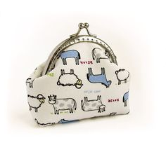 White Coin Purse Sheep Cow Horse Blue Gray by VasilinkaStore, $22.00