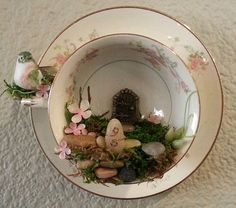 Pink Fairy Tea Cup Garden Wall Decor by KithNKinArts on Etsy