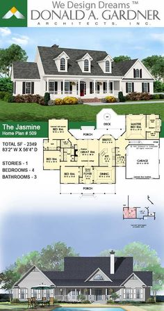 This farmhouse plan's wide front porch says welcome home, and inside, its comfortable design encourages relaxation. A center dormer lights the foyer, as columns punctuate the entry to the dining room and great room. The Jasmine Plan 509.  #wedesigndreams #dongardnerarchitects #houseplans #homeplans #floorplans #onestory #farmhouse #smallhouseplan Craftsman Bungalow House Plans, Cottage House Plans, Craftsman Bungalows, Dream House Plans, Cottage Homes, My Dream Home, Dream Houses, Unique Small House Plans, Small Front Porches