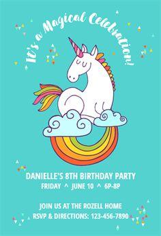 Fill in birthday party invitations printable rainbows and unicorns unicorn magic free printable birthday invitation template greetings island filmwisefo