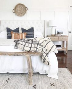 How dreamy is this airy bedroom in Erin of beautiful home! Erin is hilarious and such a sweetheart! Modern Farmhouse Bedroom, Farmhouse Style Kitchen, Modern Bedroom, Farmhouse Decor, Target Farmhouse, Red Farmhouse, Contemporary Bedroom, Airy Bedroom, Dream Bedroom