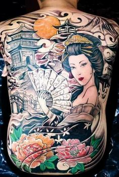 รูป12 Small Japanese Tattoo, Japanese Sleeve Tattoos, Back Tattoos For Guys, Full Back Tattoos, Buddha Tattoos, Body Art Tattoos, Tatoos, Geisha Tattoo Design, Back Piece Tattoo