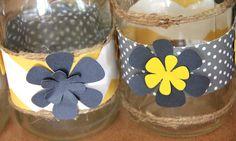 Yellow & Gray Jar Wraps Centerpieces