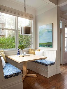 Banquettes are a family-friendly solution for fitting many diners into a spot that would otherwise be tight for a table and four chairs. Make small sensational with these pocket-size breakfast nooks that focus on function.