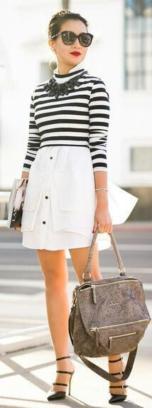285ee02917067 Bw stripes tshirt white skirt black accessories Wendy s Lookbook