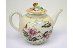 A c1770 Worcester teapot and cover hand-painted in 'Stag Hunt' pattern with cream and pink raised sold £420 U.K. 2017
