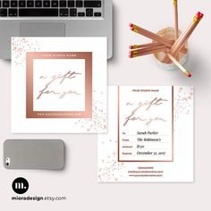 Gorgeous gift certificate template for your clients. Easy to customize color, sizes, font, and text as you want! -------------------------------------------------------------------------- You will get : + 5x5 inch Flat Card Template + 2 PSD Layered Files in 300 dpi - Front and Back Design + Designed with WHCCs specifications, but easy to modify to print in your home or other labs + Easy to change colors, sizes, font and text. + Elements are shapes so you can customize them as you want…