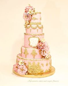 Marie Antoinette inspired pink and gold cake with peonies sugar flowers