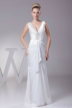 Beading Mermaid Deep V-neckline Ivory Satin Wedding Dress Lace Up Back